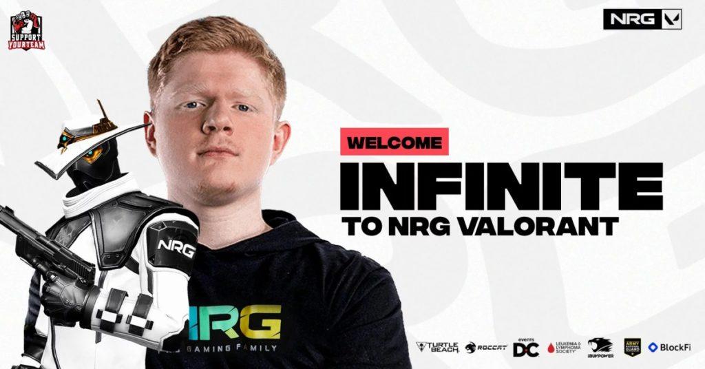 NRG ประกาศเสริมทัพ Valorant !! ดึงตัว Infinite อดีตนักแข่งขันจากสังกัด Cloud9 ขอเกม CS:GO เข้าสู่ทีม !!