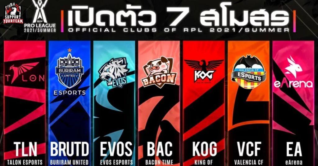 บทสรุปสุดท้าย 7 ทีมเข้าร่วม RoV Pro League 2021 Summer